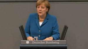Angela Merkel devant le Parlement allemand, mercredi 27 juin 2012, avant sa rencontre avec François Hollande.