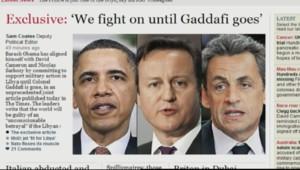 Tribune appelant au départ de Kadhafi et signée d'Obama, Sarkozy et Cameron, publiée dans le Times