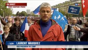 """Le 13 heures du 26 mai 2013 : Laurent Wauquiez en duplex : """"je suis l�our d�ndre la famille"""" - 528.9673890380859"""