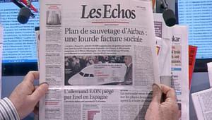 Les Echos fait sa Une sur le plan de restructuration d'Airbus