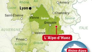 Carte de l'Alpe d'Huez, dans l'Isère.