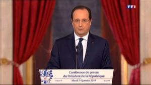 """Le 20 heures du 14 janvier 2014 : Face �a presse, Hollande d�ile son """"pacte de responsabilit�- 374.905"""