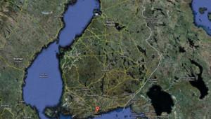 Carte de la Finlande sur Google maps.