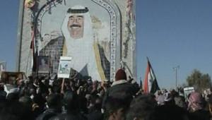Des centaines de manifestants ont défilé pour rendre hommage à Saddam Hussein