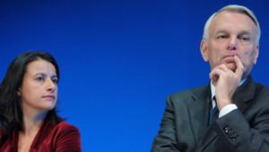 Le Premier ministre Jean-Marc Ayrault et la ministre du Logement Cécile Duflot pendant le congrès de l'Habitat social le 25 septembre 2012 à Rennes
