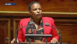 Christiane Taubira à la tribune du Sénat le premier jour des débats sur le mariage pour tous, le 4 avril 2013.