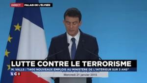 Terrorisme : Valls annonce 1.400 nouveaux postes au ministère de l'Intérieur