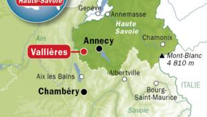 Carte de localisation de Vallières, en Haute-Savoie