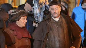 Christian Clavier et Jean Reno sur le tournage des Visiteurs 3.