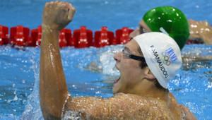 Le nageur Florent Manaudou, champion olympique du 50 m nage libre, le 3 août 2012 à Londres.