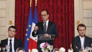 Manuel Valls, François Hollande et Emmanuel Macron