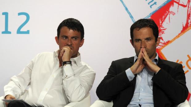 Manuel Valls et Benoit Hamon aux universités d'été du PS en aout 2012.