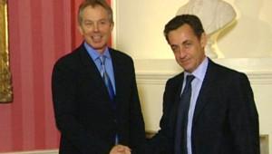 TF1/LCI : Le candidat Nicolas Sarkozy rencontrant à Londres le Premier ministre Tony Blair