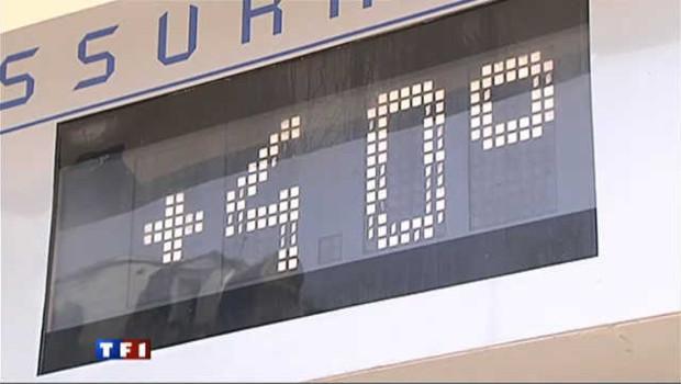 Un panneau annonçant une température extérieure de 40 degrés (archives).