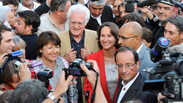 A la veille de l'université d'été du PS à La Rochelle d'août 2011 : Martine Aubry, Ségolène Royal, Harlem Désir et François Hollande et Lionel Jospin.