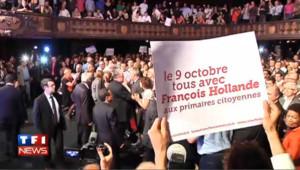 Hollande entre en meeting sur fond de rap : les images