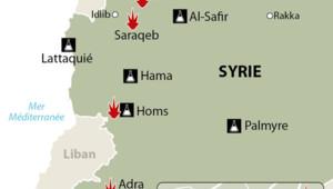 La carte des sites présumées d'armes chimiques et des lieux d'attaques présumées