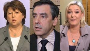 Martine Aubry et Marine Le Pen au soir du second tour des cantonales, le 27 mars 2011, François Fillon : image d'archives