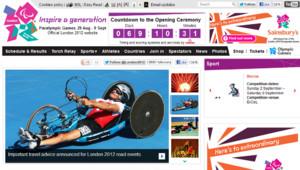 Capture d'écran du site officiel des Jeux paralympiques 2012, 21/6/12