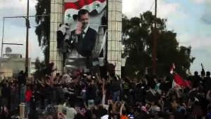 Image amateur : manifestation à Deraa (Syrie) contre Bachar al-Assad, 25/3/2011