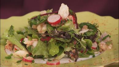 Salade de radis et crabe en vinaigrette d 39 espelette petits plats en equilibre mytf1 - Radis rose d hiver de chine ...