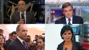 Alain Juppé, François Fillon, Jean-François Copé et Rachida Dati le 10 juin 2012 à l'issue du 1er tour des législatives