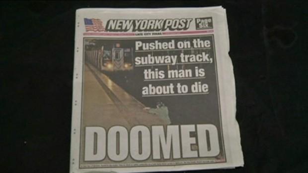 Homme poussé dans le métro : la Une New York Post choque