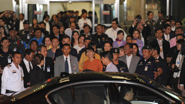 Aung San Suu Kyi arrivant à Bangkok en Thaïlande le 29 mai 2012