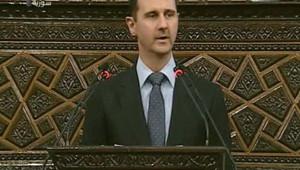 Bachar al-Assad lors d'un discours retransmis à la télévision syrienne (3 juin 2012)