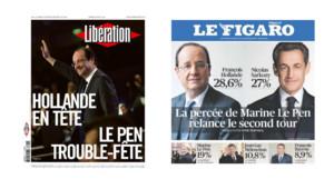 Les Unes de Libération et du Figaro au lendemain du premier tour de la présidentielle, le 23 avril 2011