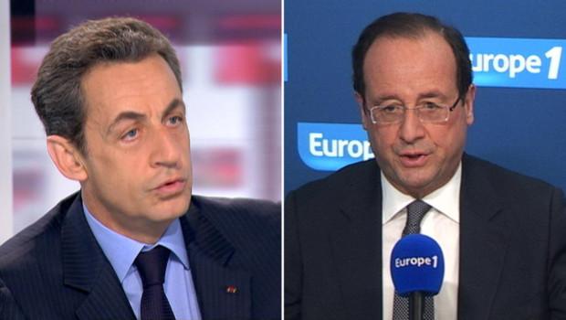 Nicolas Sarkozy sur le plateau des 4 vérités de France 2 et François Hollande sur Europe 1