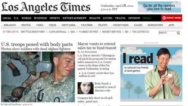Capture d'écran du site du Los Angeles Times, le 18/4/12, vers 14h, heure française
