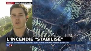 """Incendie en Gironde : le feu """"stabilisé mais pas maîtrisé"""""""