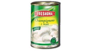 """Boîte de champignons de marque """"Freshona"""", vendue chez Lidl"""