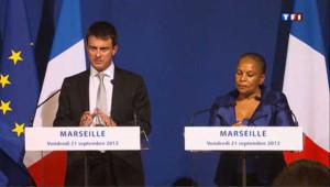 Manuel Valls et Christiane Taubira à Marseille le 21 septembre 2012.