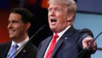 Donald Trump lors du premier débat républicain pour les primaires, 7/8/15 (à l'arrière-plan : Scott Walker)
