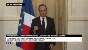 """Hollande : """"Cahuzac n'a bénéficié d'aucune protection"""""""