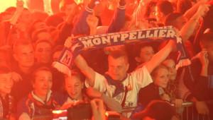Supporters de Montpellier lors du match contre Auxerre, à l'issue duquel Montpellier a été sacré champion de France (21 mai 2012)
