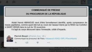 Attentats : communiqué procureur république