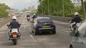TF1/LCI Nicolas Sarkozy dans sa voiture, en route pour Orly