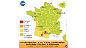 Alerte orange aux vents violents dans le Tarn et la Haute-Garonne.