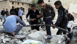 Le 24 novembre 2013. Des enfants dans la ville d'Alep en Syrie.