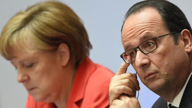 Angela Merkel et François Hollande en mai 2015 à Berlin pour une conférence sur le climat.