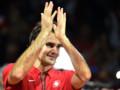 Roger Federer après la balle de match contre Richard Gasquet, qui offre à la Suisse sa première Coupe Davis, le 23 novembre 2014 à Villeneuve-d'Ascq.