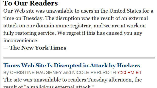 Capture d'écran du site du New York Times après une attaque informatique, 28/8/13, vers 6h15