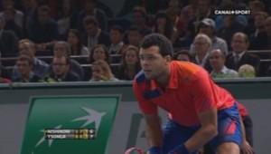 Jo-Wilfried Tsonga au deuxième tour du Masters 1000 de Paris-Bercy (29/10/2013)