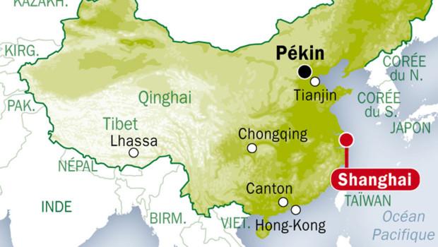 Ville De Shanghai Sur Une Carte