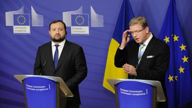 Le vice-Premier ministre ukrainien Serhiy Arbouzov et le commissaire européen chargé de la Politique de voisinage, Stefan Füle.