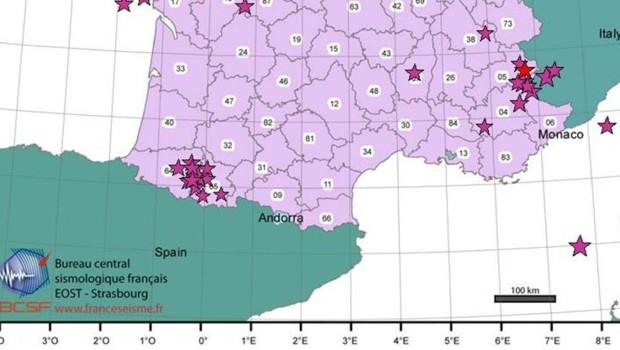 Séisme dans les Hautes-Alpes : l'épicentre localisé par le Bureau sismologique français (7 janvier 2013)