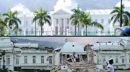 Ce montage donne une image frappante des dégâts subis par le palais présidentiel.